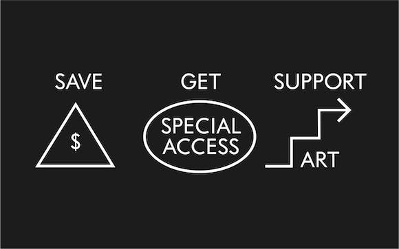 Save, Get Special Access, and Support Art graphic