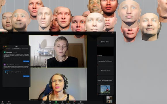Zoom conversation window overlaid on image of 30 hanging faces in gallery