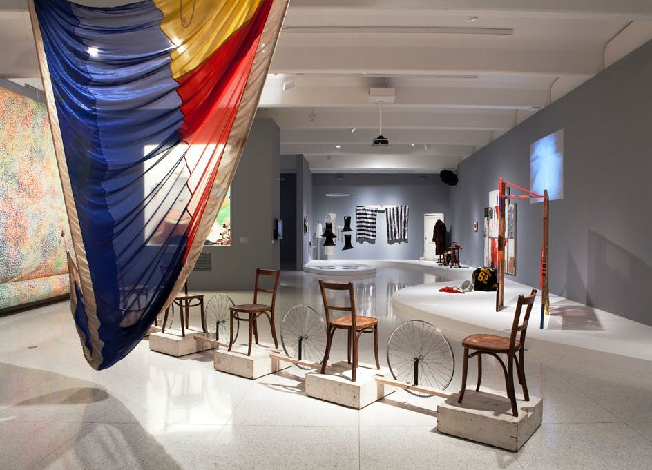 Installation view of the exhibition Dance Works I: Cunningham/Rauschenberg, with décor and costume designs by Robert Rauschenberg