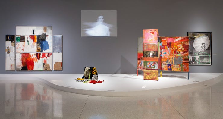 Installation view of Dance Works I: Merce Cunningham / Robert Rauschenberg