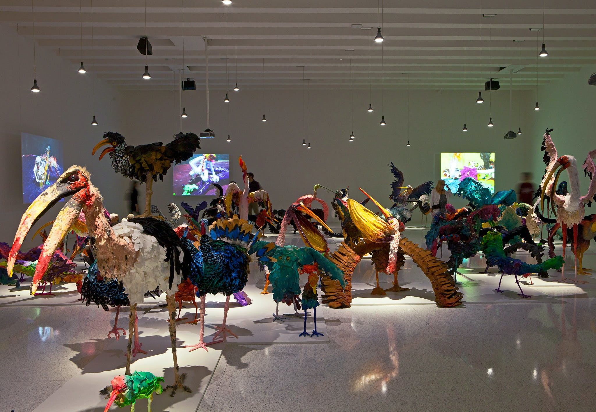 Installation view of The Parade: Nathalie Djurberg with Music by Hans Berg at the Walker Art Center