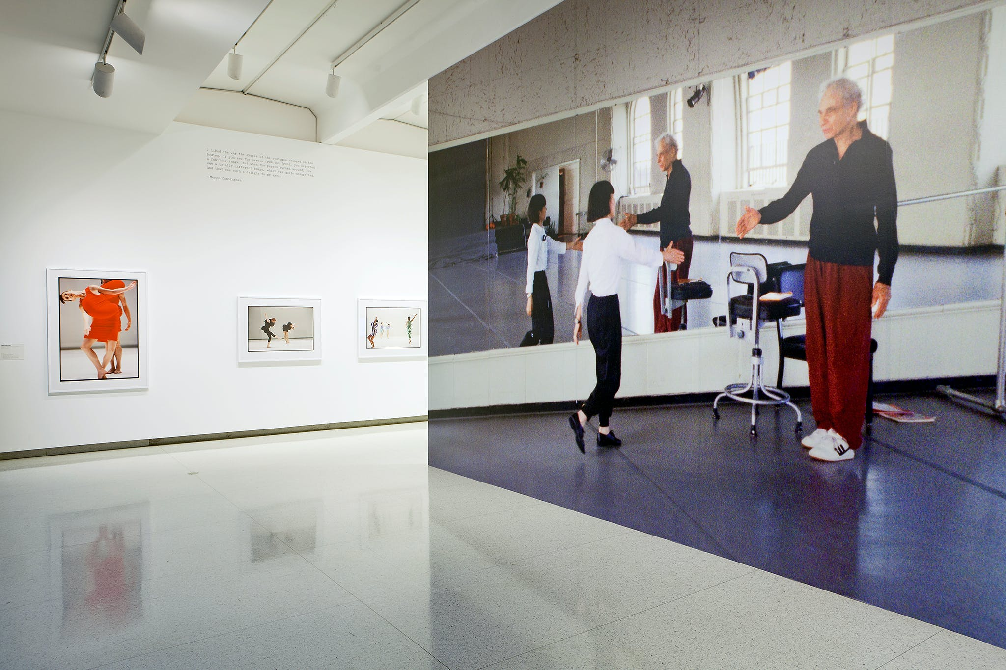 Installation view of the exhibition Dance Works III: Merce Cunningham / Rei Kawakubo, 2012