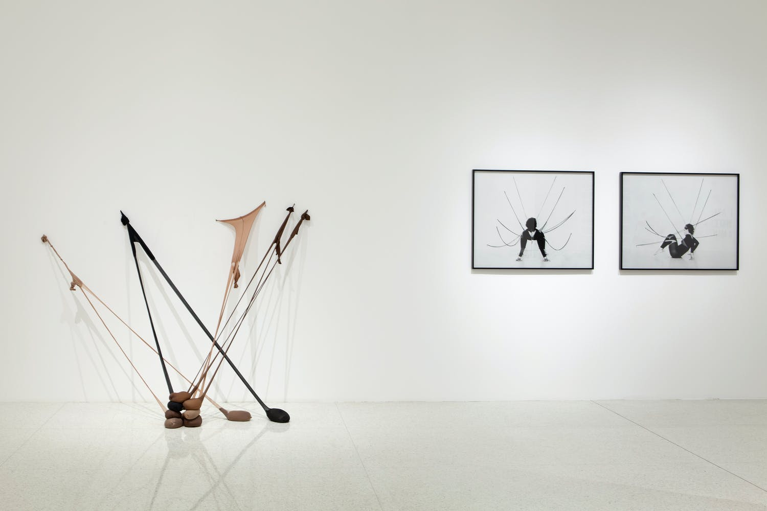 View of the exhibition Radical Presence: Black Performance in Contemporary Art, 2014; (left to right): Senga Nengudi, Untitled (RSVP), 2013; Senga Nengudi, Performance Piece, 1978