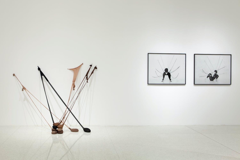 View of the exhibition Radical Presence: Black Performance in Contemporary Art, 2014; (left to right): Senga Nengudi, Untitled (RSVP), 2013; Senga Nengudi, Performance Piece, 1978