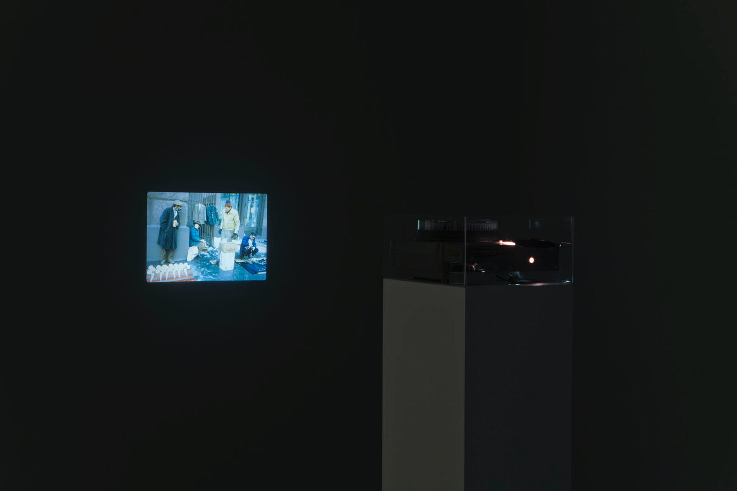 View of the exhibition Radical Presence: Black Performance in Contemporary Art, 2014; David Hammons, Bliz-aard Ball Sale, 1983