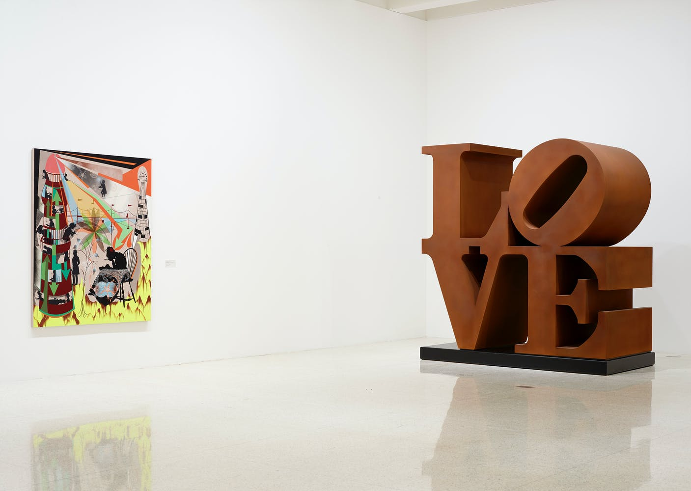 View of the exhibition 75 Gifts for 75 Years, 2015; (left to right): Lari Pittman, This Desire, Beloved and Despised, Continues Regardless, 1989; Robert Indiana, LOVE, 1966-1998