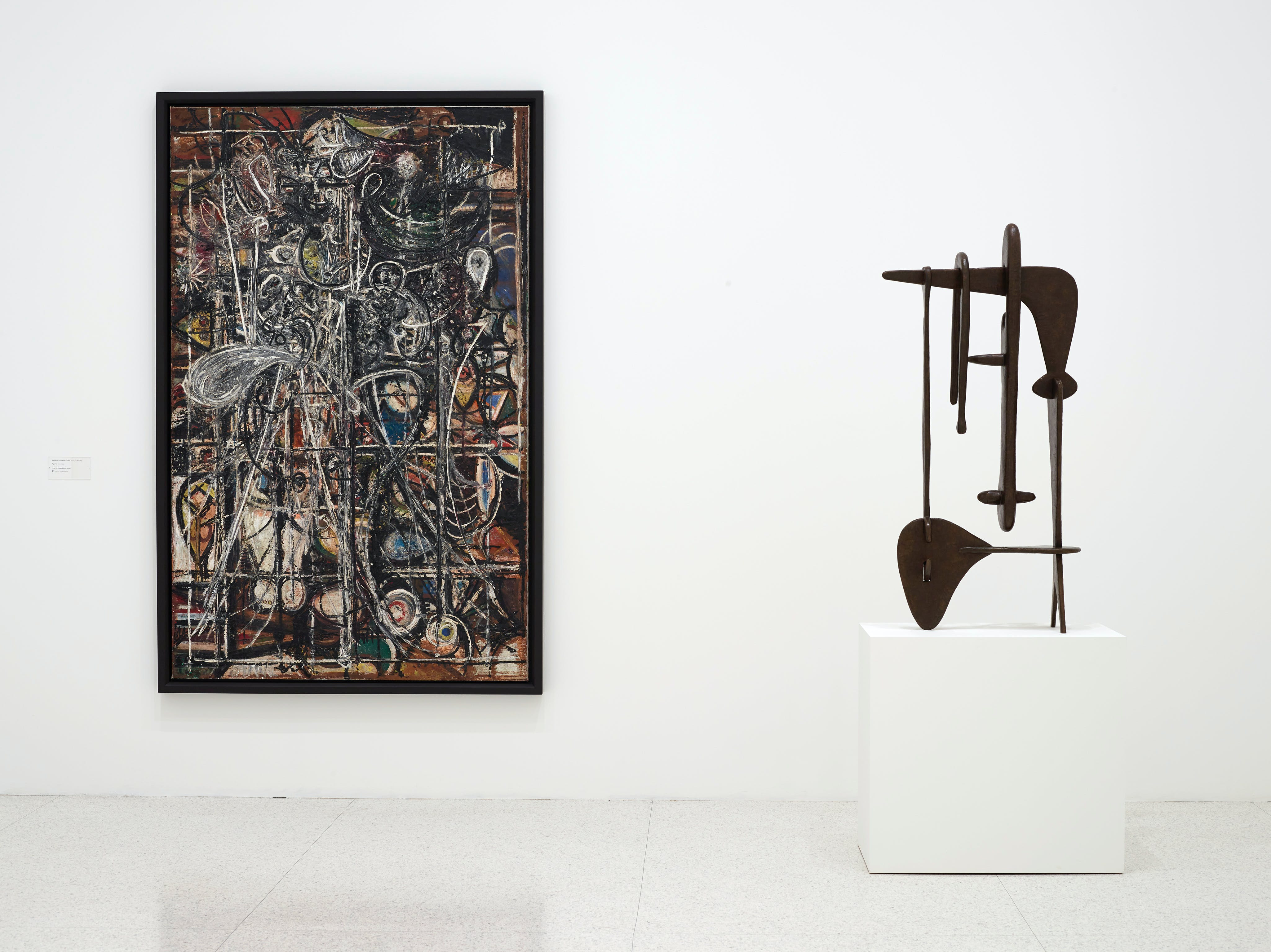View of the exhibition 75 Gifts for 75 Years, 2015; (left to right): Richard Pousette-Dart, Figure, 1944–45; Isamu Noguchi, Remembrance, 1944