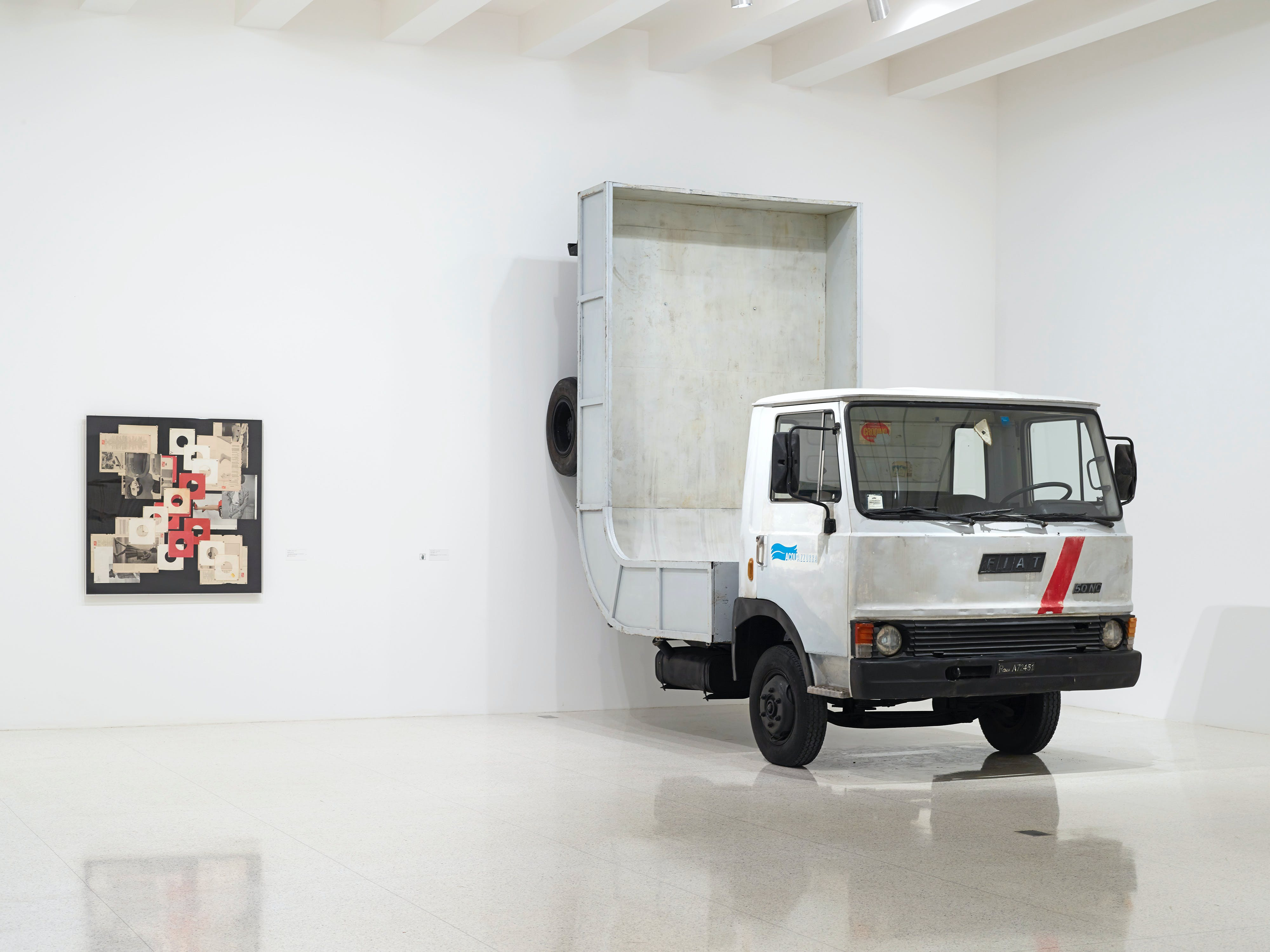 View of the exhibition 75 Gifts for 75 Years, 2015; (left to right): Tom Burr, Bazaar Life, 2009; Erwin Wurm, Truck (Baltic), 2005