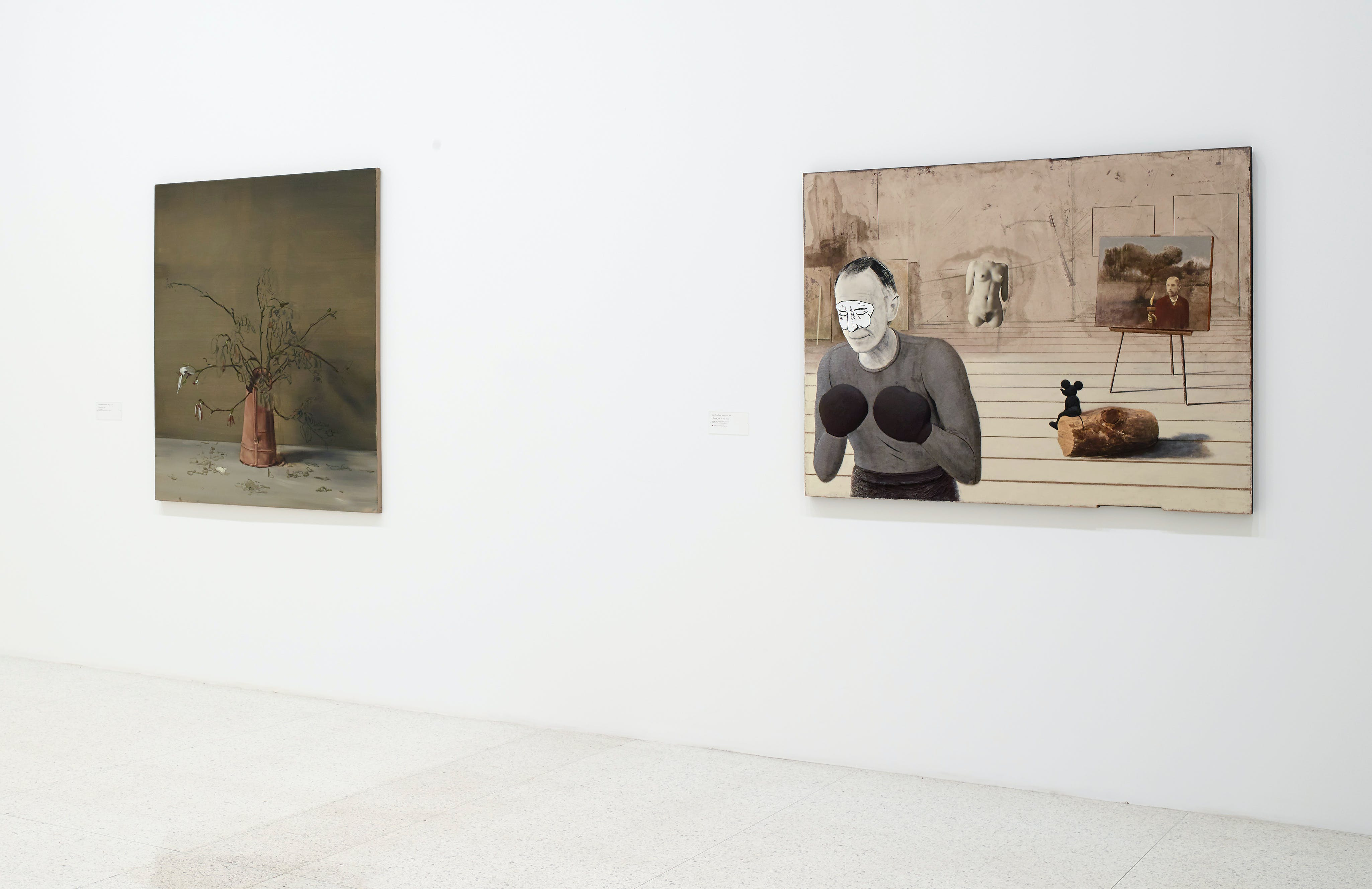 View of the exhibition 75 Gifts for 75 Years, 2015; (left to right): Michael Borremans, Magnolias, 2013; Llyn Foulkes, I Got a Job to Do, 2003