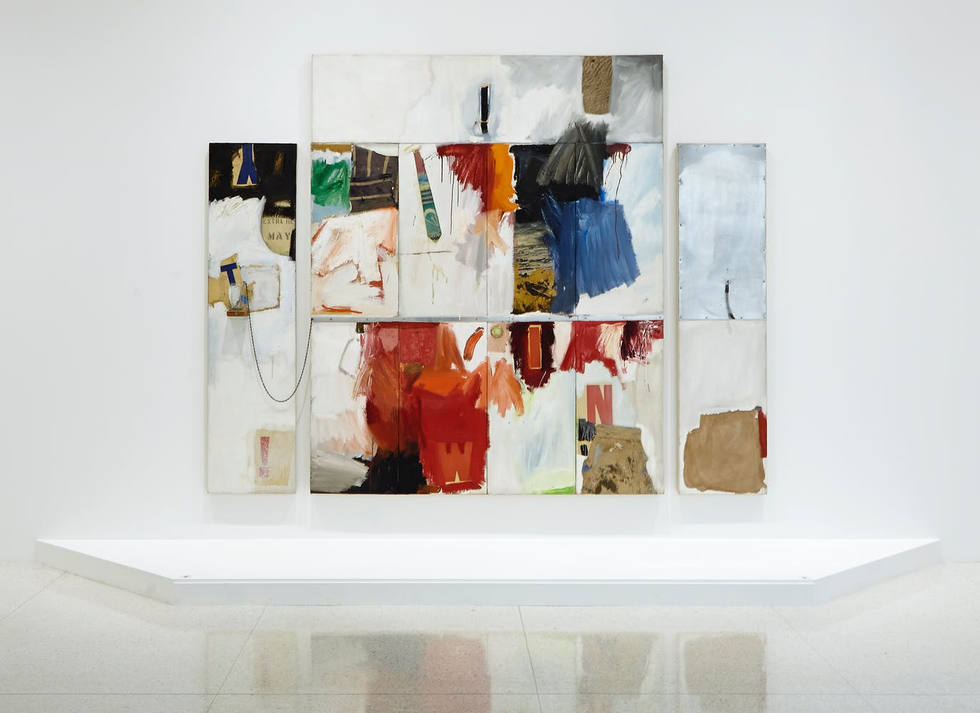 View of the exhibition International Pop, 2015; Robert Rauschenberg, Trophy II (for Teeny and Marcel Duchamp), 1960
