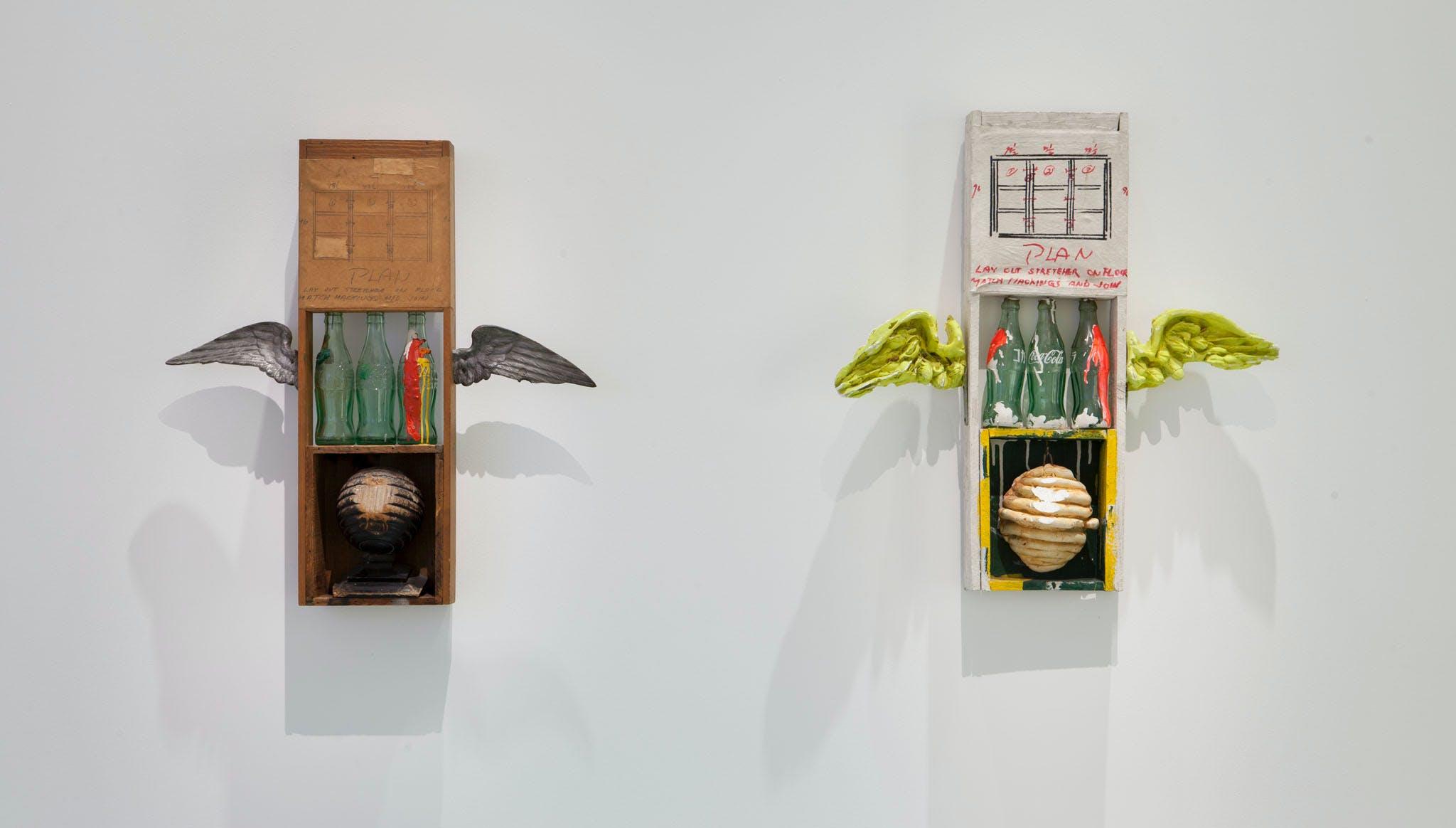 View of the exhibition International Pop, 2015; (left to right): Robert Rauschenberg, Coca-Cola Plan, 1958; Shinohara Ushio, Coca-Cola Plan, 1964
