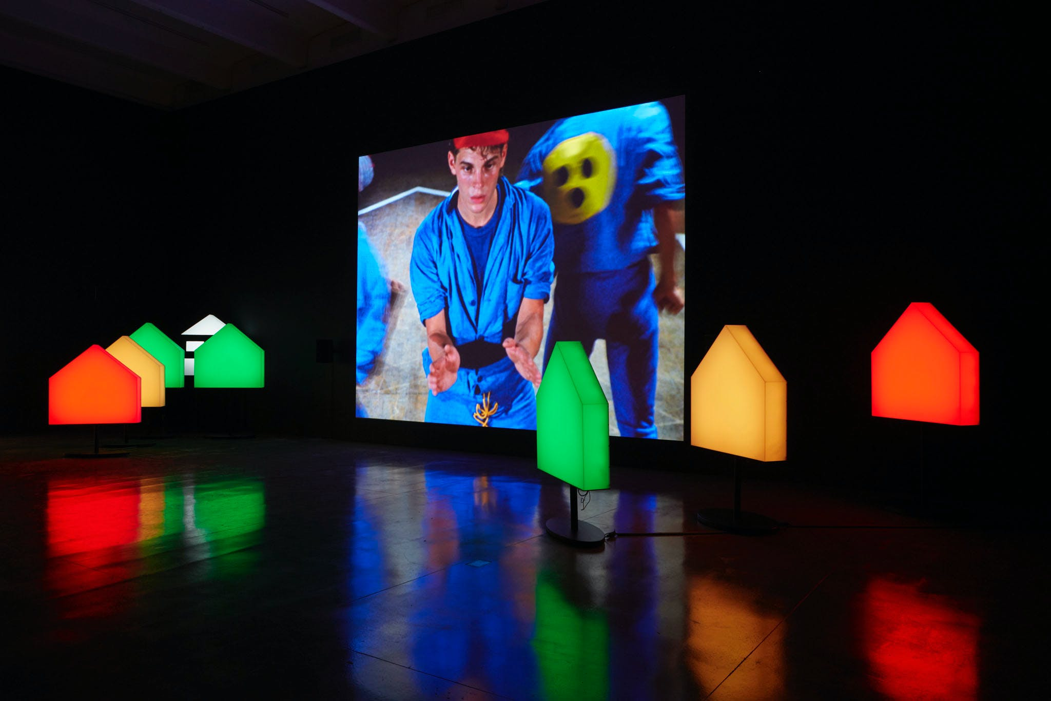 View of the exhibition Less Than One, 2016; Ericka Beckman, You The Better, Film Installation, 1983/2015 (Photo: Gene Pittman, ©Walker Art Center)