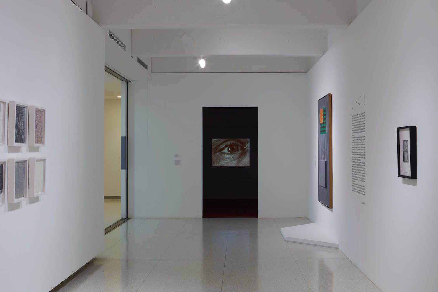 View of the exhibition Less Than One, 2016; (left to right): James Richards, Radio at Night, 2015; Jasper Johns, Flags, 1965 (Photo: Gene Pittman, ©Walker Art Center)