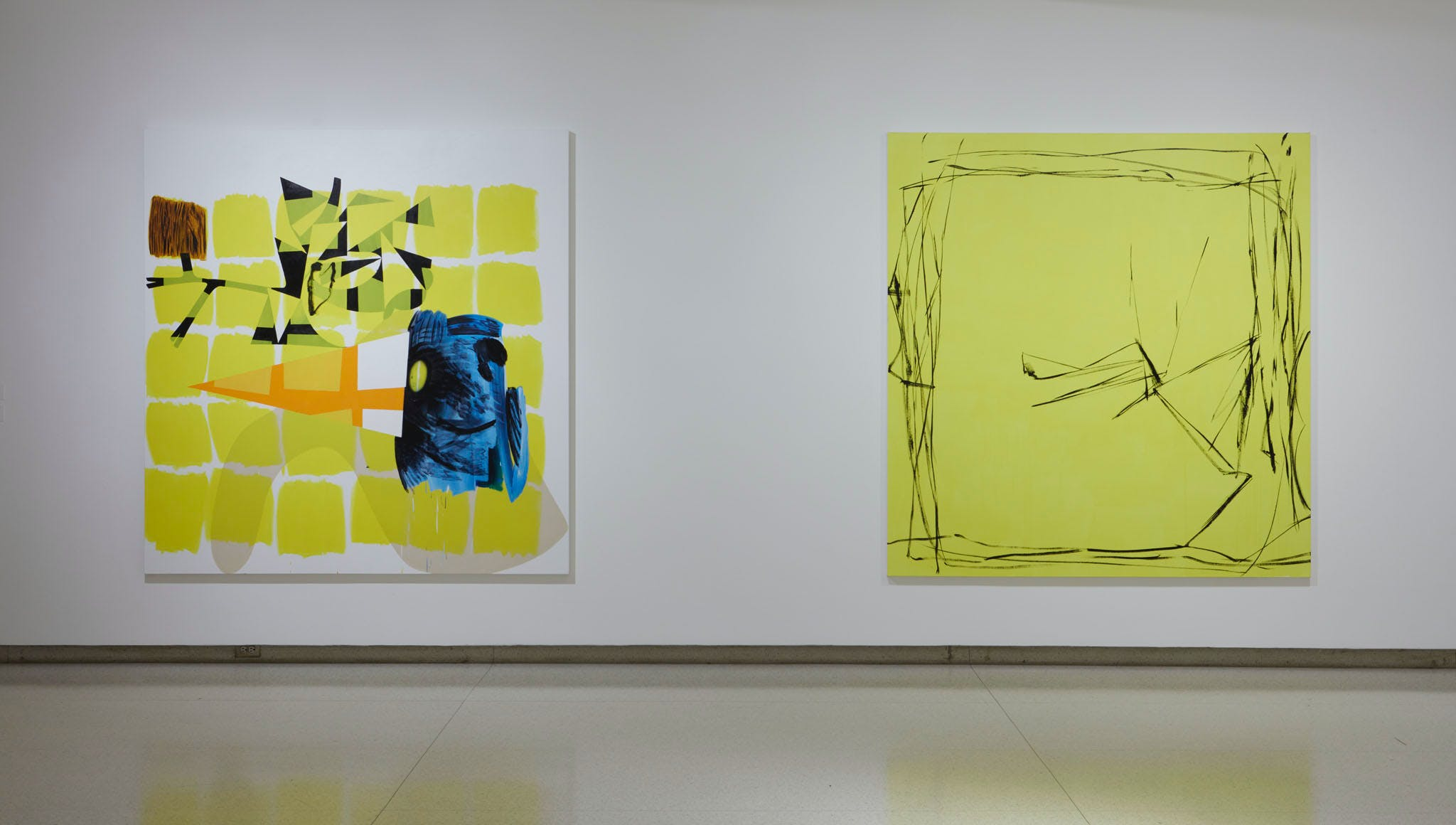 View of the exhibition Less Than One, 2016; (left to right): Charline von Heyl, Children's Encyclopedia, 2014; Charline von Heyl, Bois-Tu De La Bier?, 2012 (Photo: Gene Pittman, ©Walker Art Center)