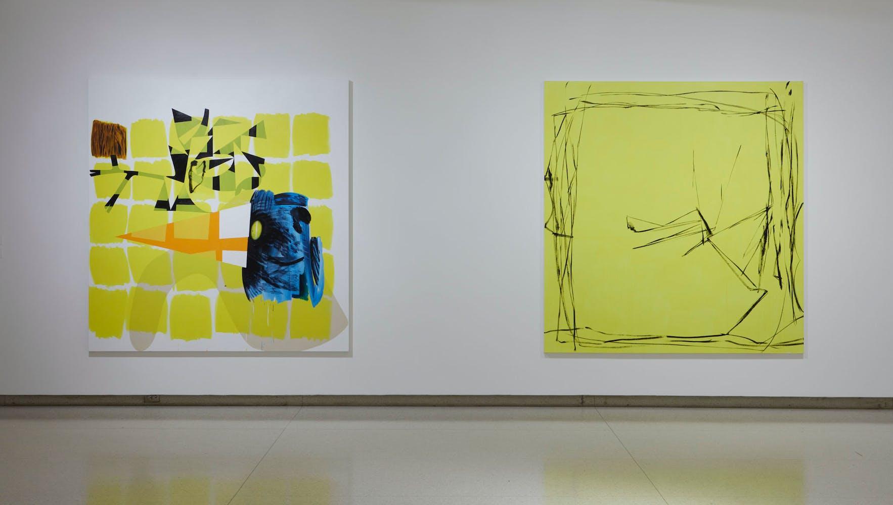 View of the exhibition Less Than One, 2016; (left to right): Charline von Heyl, Children's Encyclopedia, 2014; Charline von Heyl, Bois-Tu De La Bier?, 2012 (Photo: Gene Pittman, ©Walker Art Center)