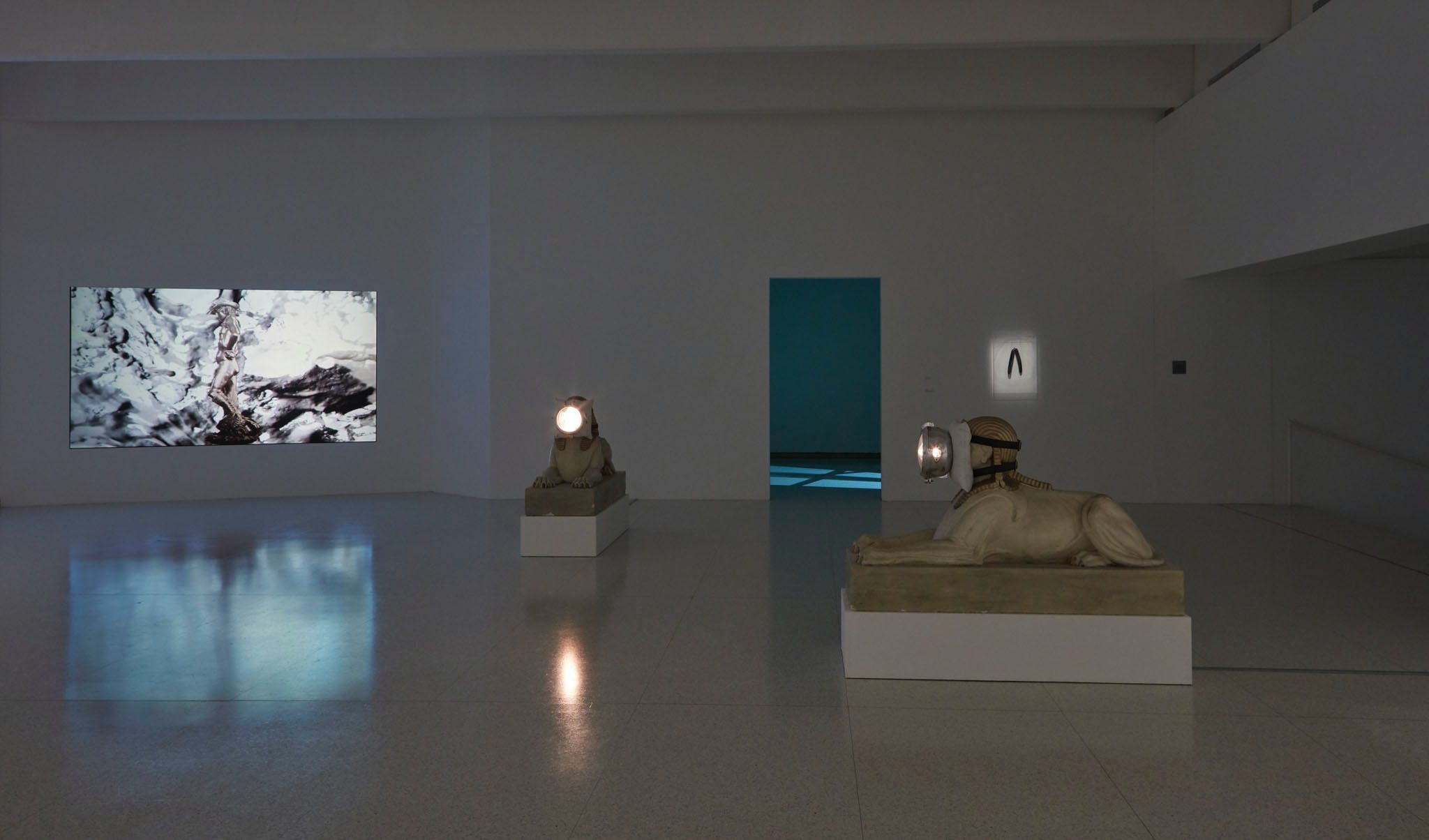 View of the exhibition Less Than One, 2016; (left to right): Trisha Donnelly, Untitled, 2014; Trisha Donnelly, Untitled, 2008; Trisha Donnelly, Untitled, 2004-2007 (Photo: Gene Pittman, ©Walker Art Center)