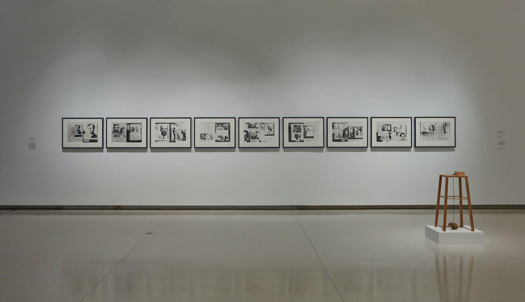 View of the exhibition Less Than One, 2016; (background): Lutz Bacher, The Lee Harvey Oswald Interview, 1976; (right) Sigmar Polke, Apparat, mit dem eine Kartoffel eine andere umkreisen kann, 1969 (Photo: Gene Pittman, ©Walker Art Center)