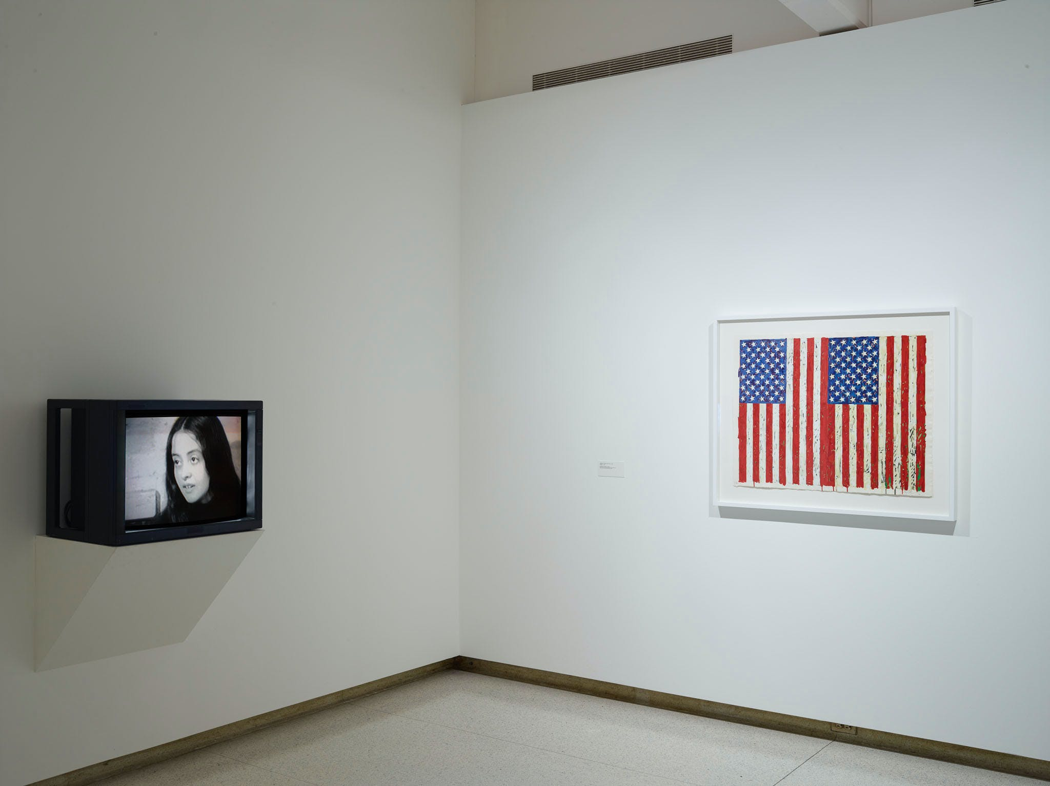 View of the exhibition Less Than One, 2016; (left to right): Adrian Piper, The Mythic Being, 1973; Jasper Johns, Flags I, 1973 (Photo: Gene Pittman, ©Walker Art Center)