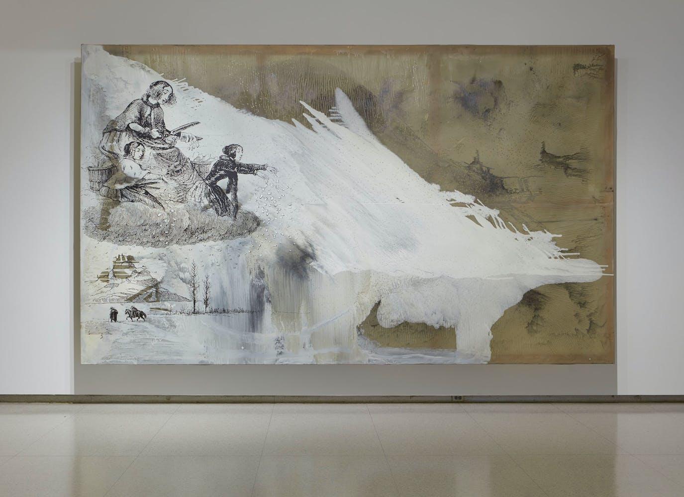 View of the exhibition Less Than One, 2016; Sigmar Polke, Frau Herbst und ihre zwei Tochter, 1991 (Photo: Gene Pittman, ©Walker Art Center)