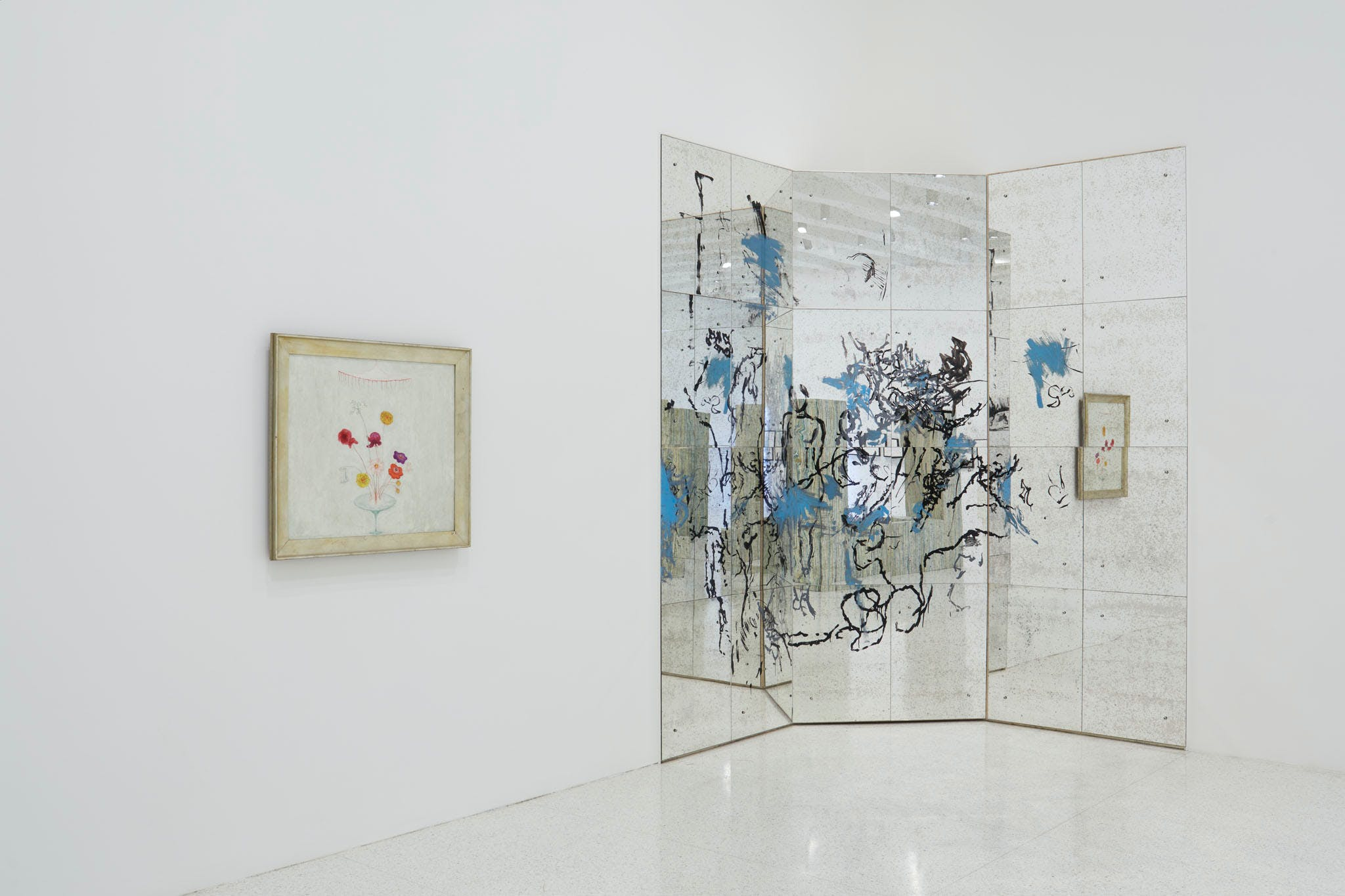 View of the exhibition Question the Wall Itself, 2016; (left to right) Florine Stettheimer, Still Life with Flowers, 1921; Nick Mauss, F.S. Interval II, 2014 (Photo: Gene Pittman, ©Walker Art Center)