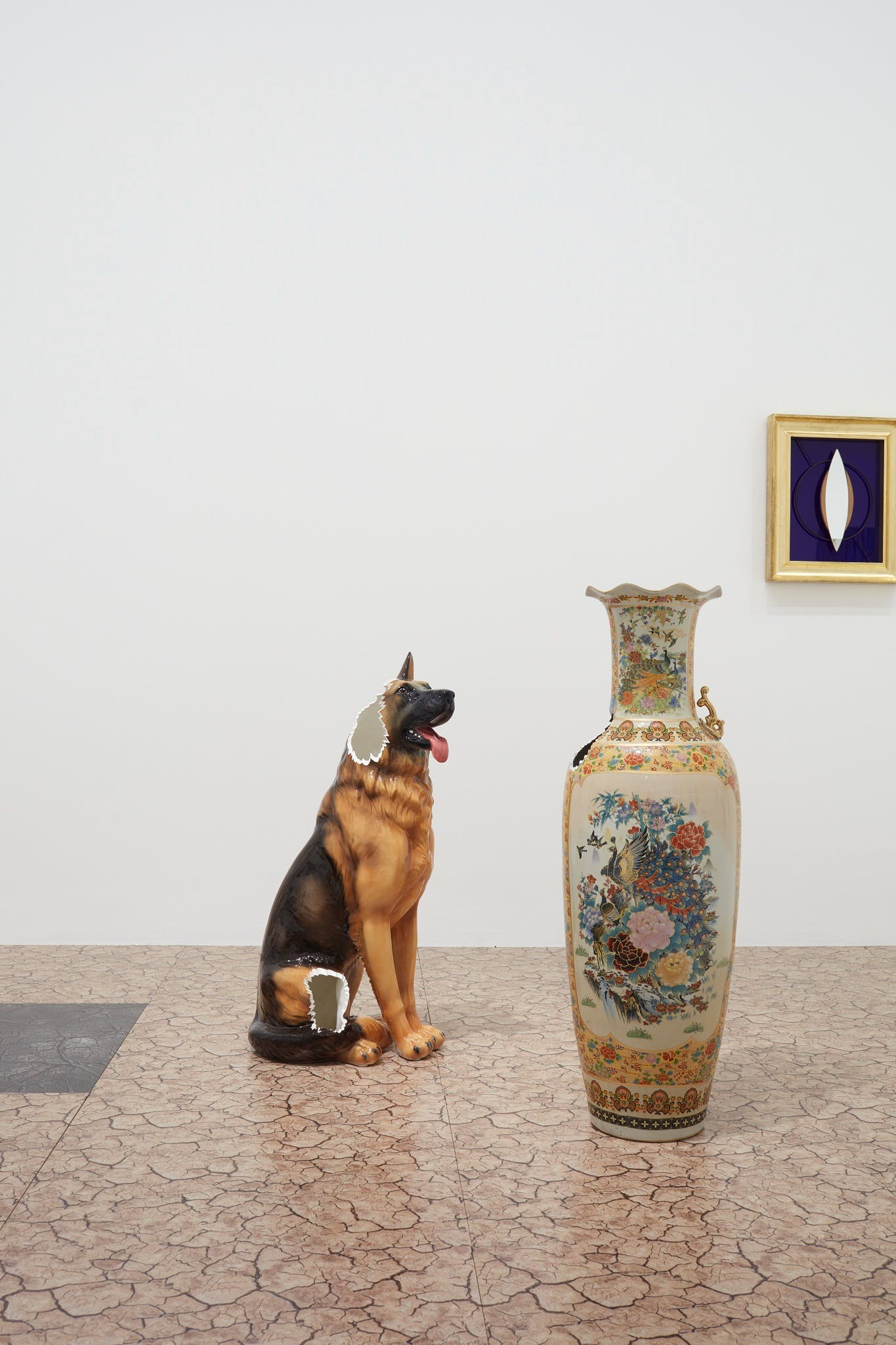 View of the exhibition Question the Wall Itself, 2016; (left to right) Nina Beier, Tileables, 2014; Nina Beier, Selections from China, 2016; Janette Laverrière, À Gustave Courbet, 2001