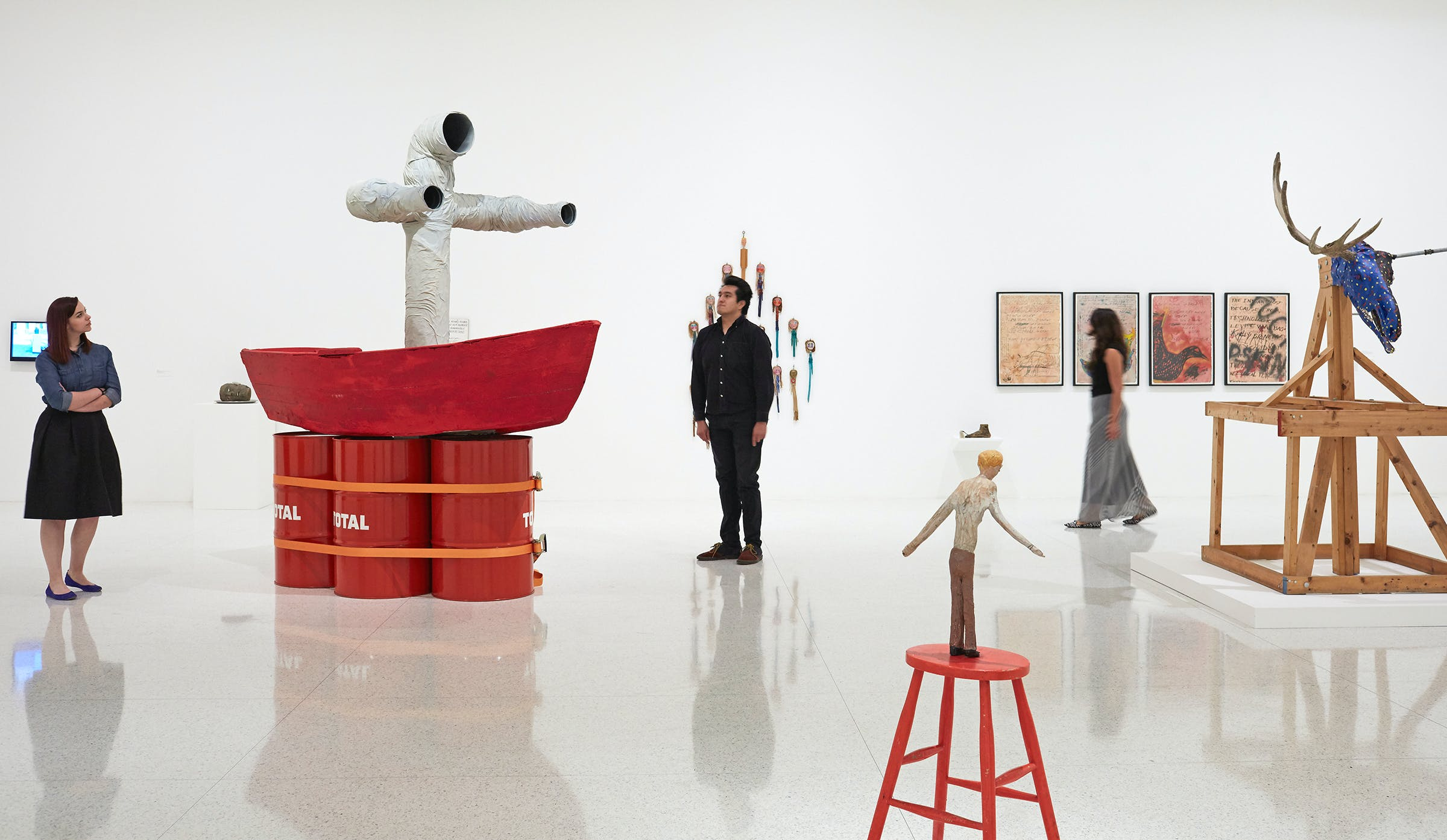 View of the exhibition Jimmie Durham : At the Center of the World, 2017. (Photo: Gene Pittman, ©Walker Art Center)