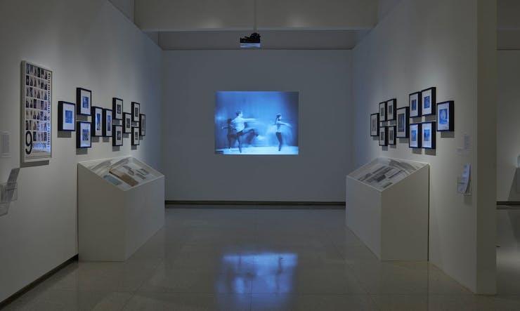 Gallery showing Merce Cunningham art works on display.