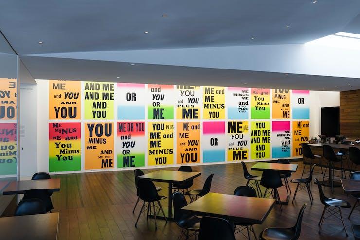 Allen Ruppersberg, You & Me, 2013, installed in the Walker's Target Project space in Esker Grove. Photo: Galen Fletcher for Walker Art Center