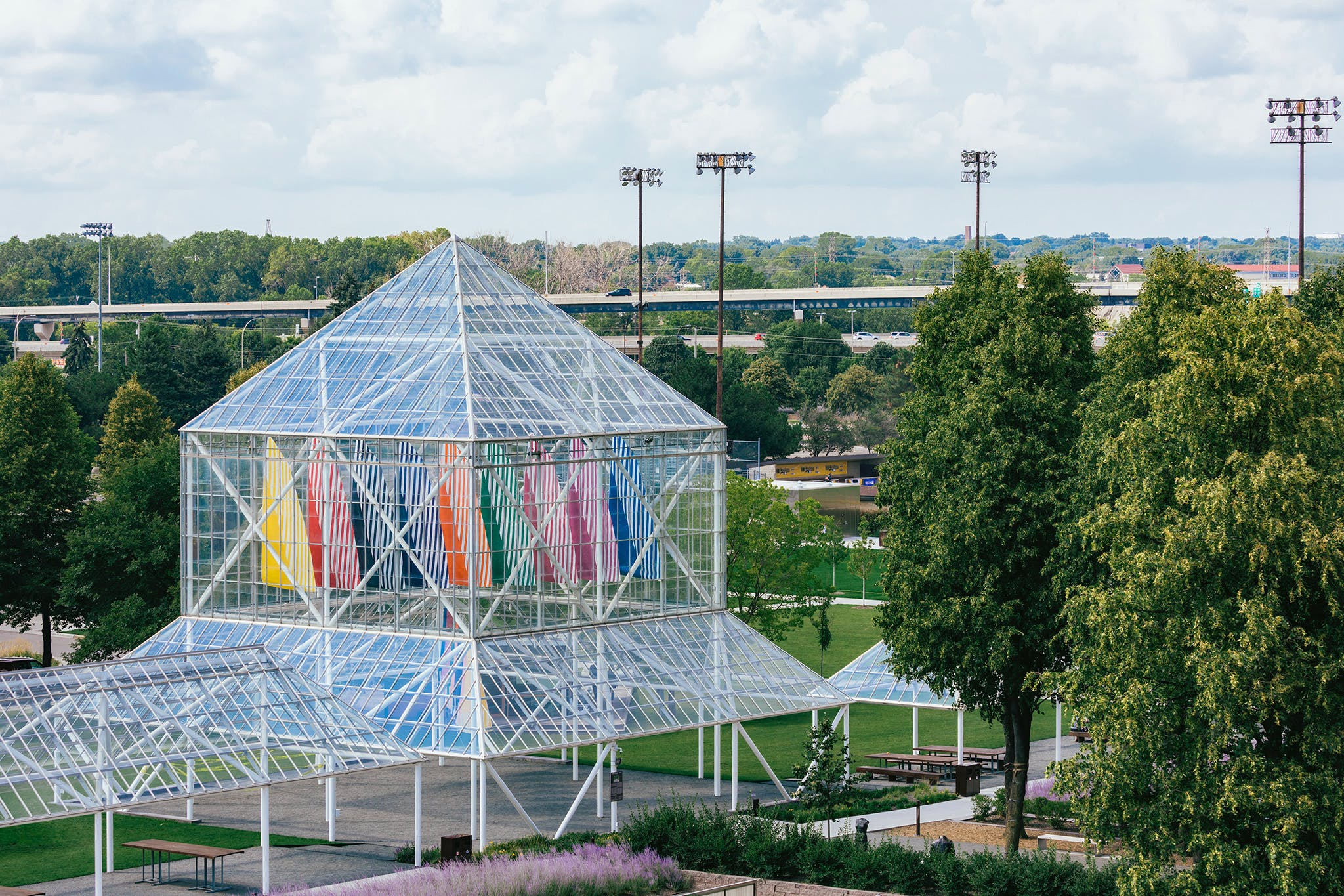 Daniel Buren's sails hanging in the Cowles Pavilion in the Minneapolis Sculpture Garden.