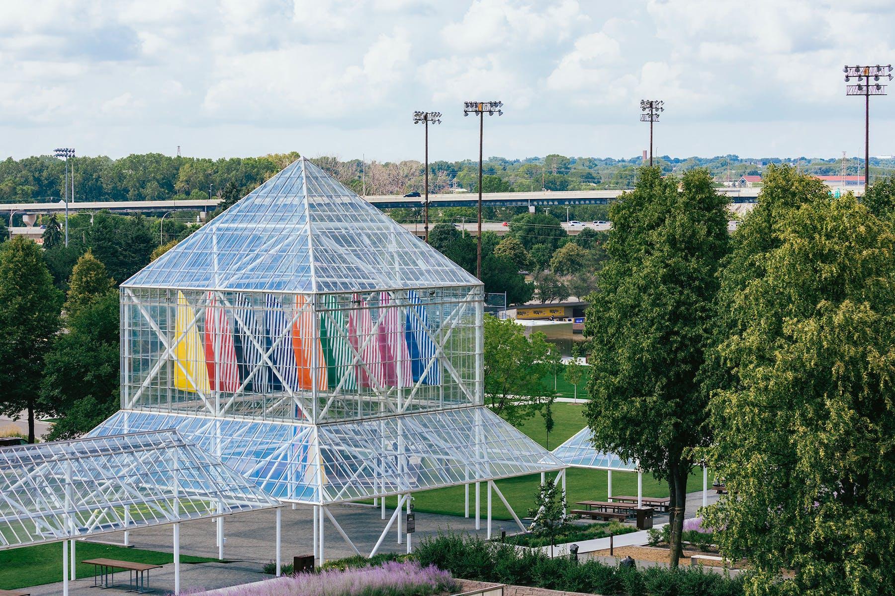 Daniel Buren's sails hanging in the Cowles Pavilion in the Minneapolis Sculpture Garden.