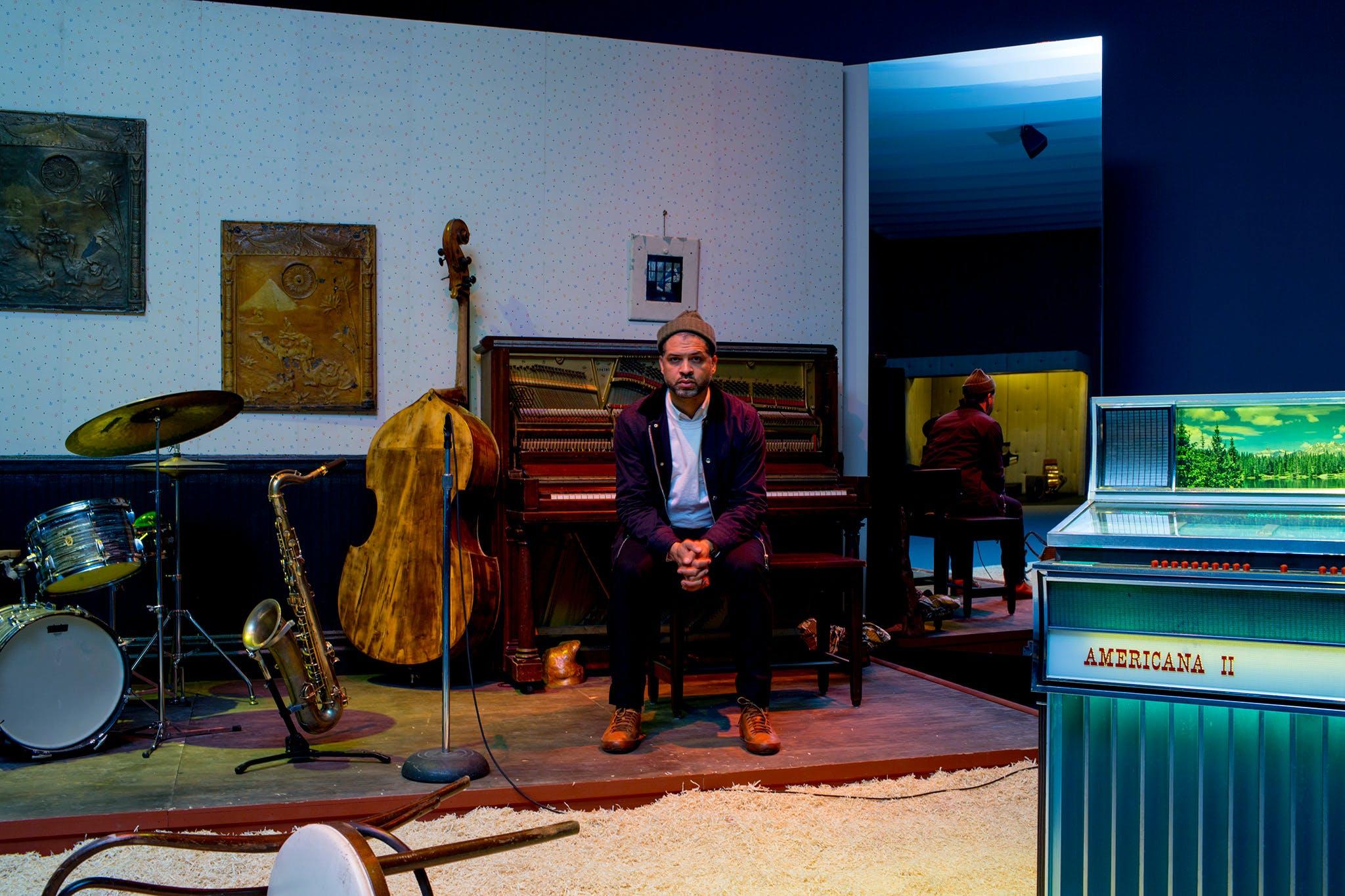 "Jason Moran in his ""set"" sculpture STAGED: Slugs' Saloon (2018)"