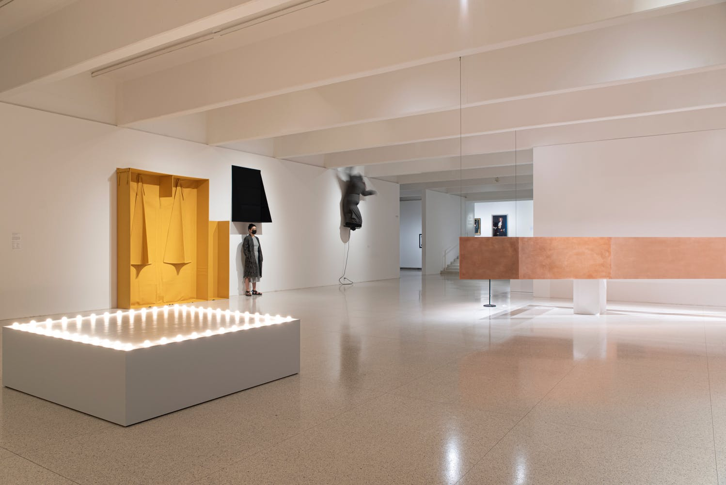 Gallery view with multiple sculptural objects