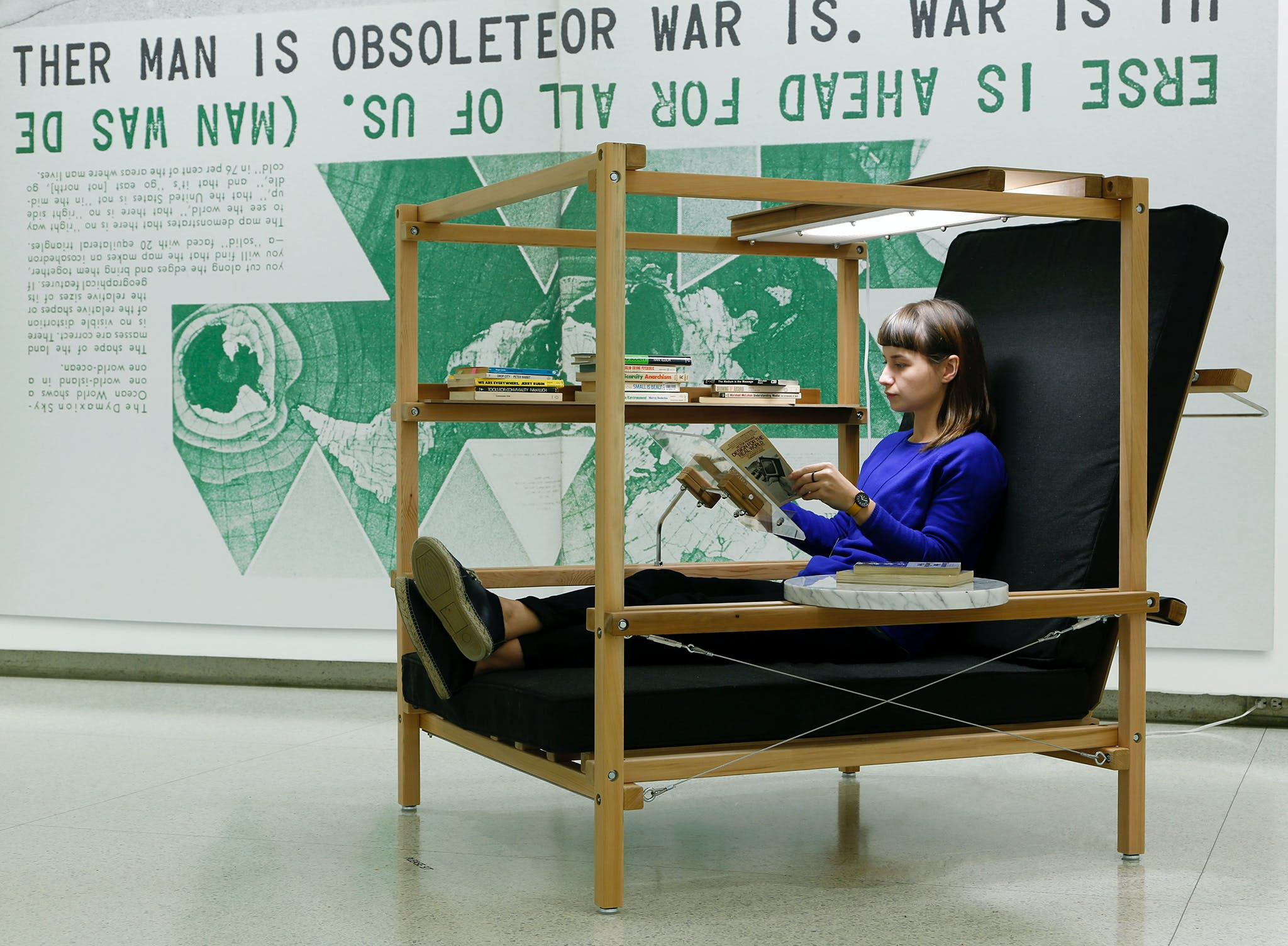 View of the exhibition Hippie Modernism: The Struggle for Utopia, 2015; Ken Isaacs, Superchair, 1968/2014