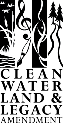 Black and white Clean Water Land and Legacy Amendment logo with cattails, music and art symbols, fish and trees.