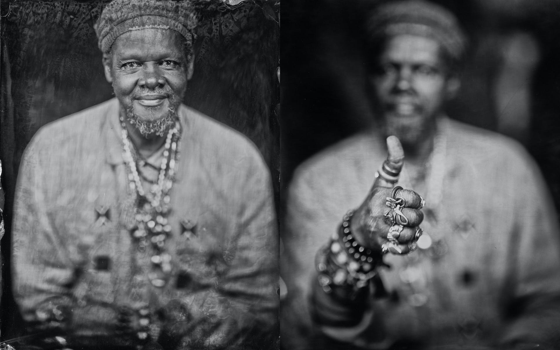 Two side by side black and white portraits of Lonnie Holley