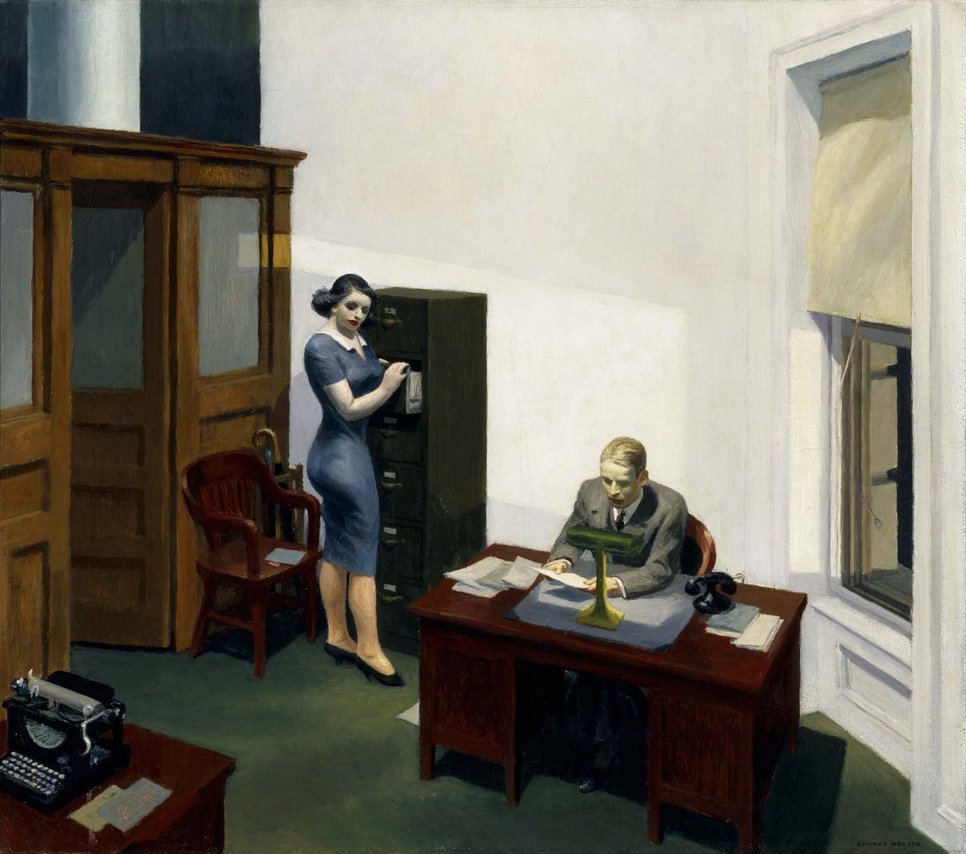Painting by Edward Hopper of two people in an office