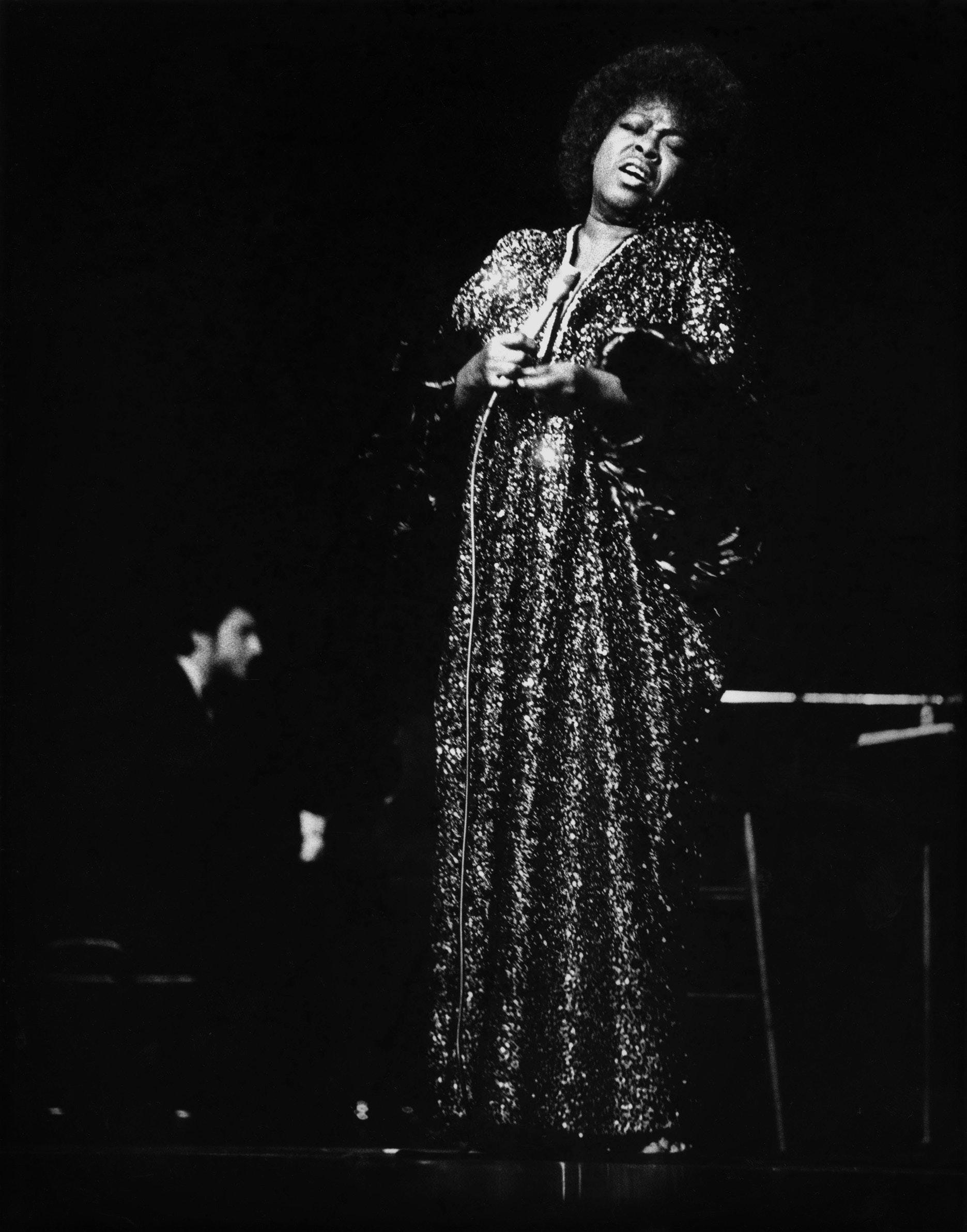 Sarah Vaughn performing on stage