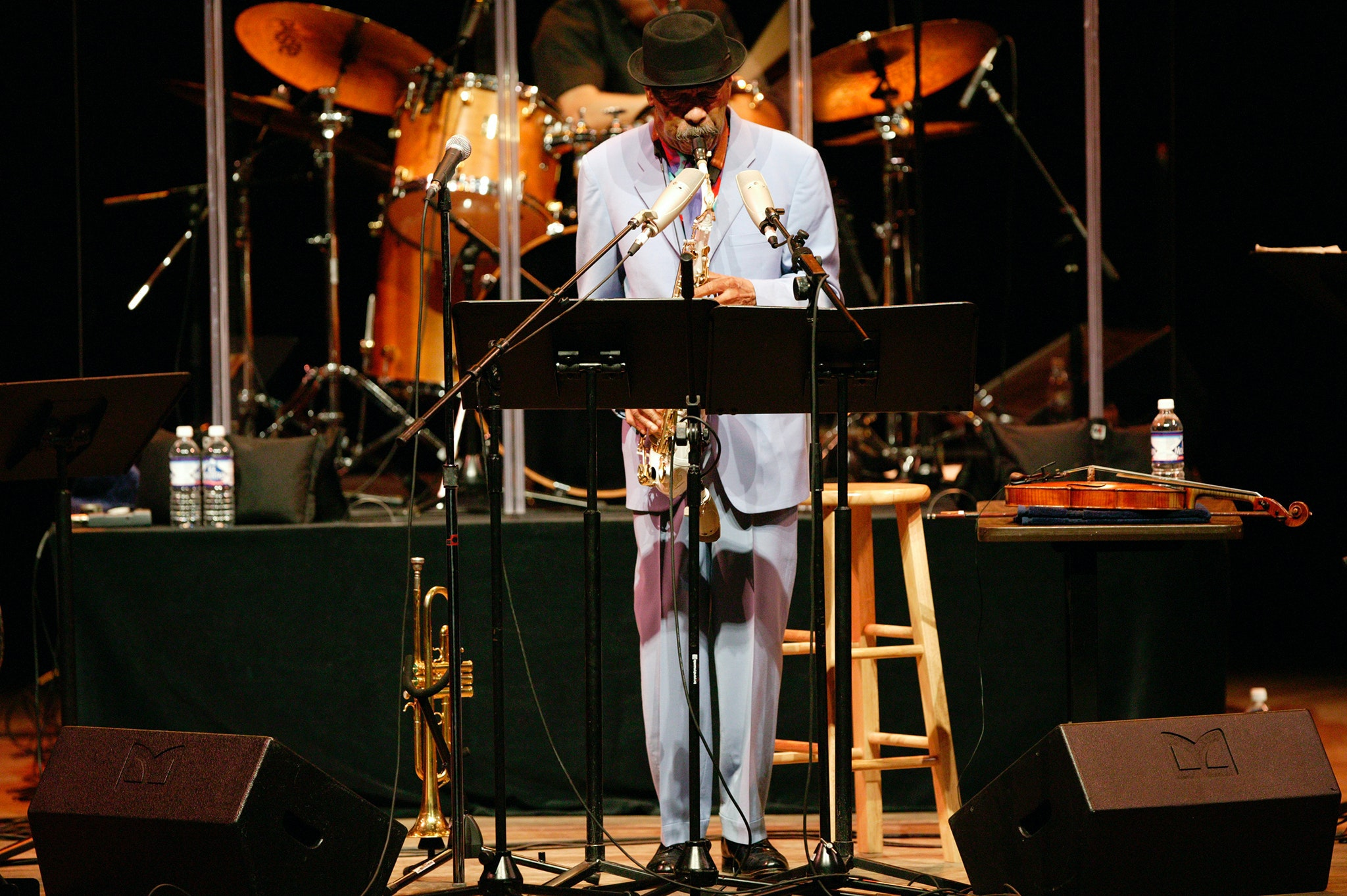 Ornette Coleman playing on stage