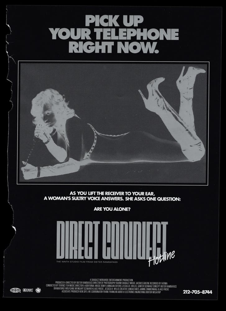 Image of advertisement featuring an inverted image of a woman lying on the floor and typography