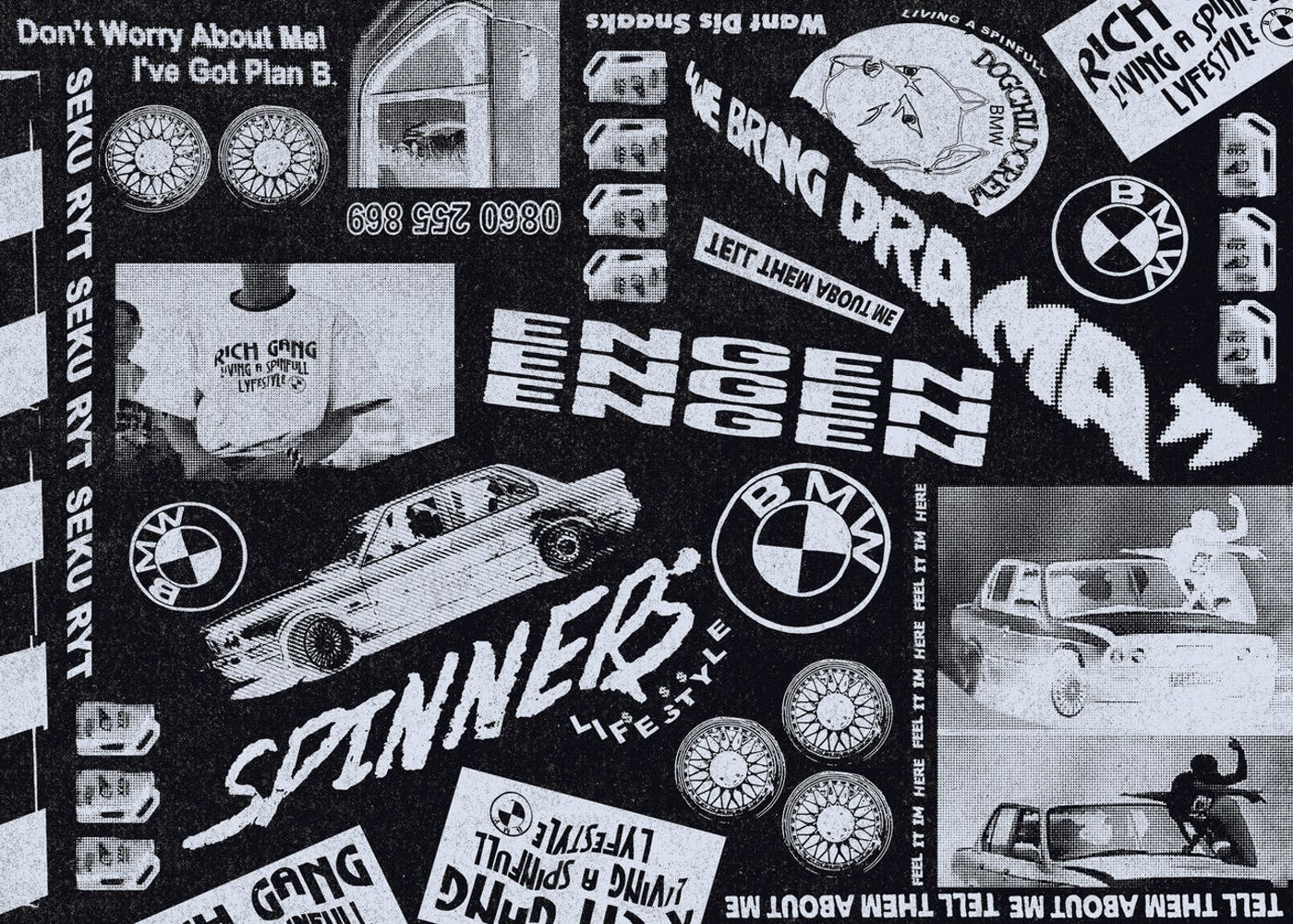 Typographic collage in black and white