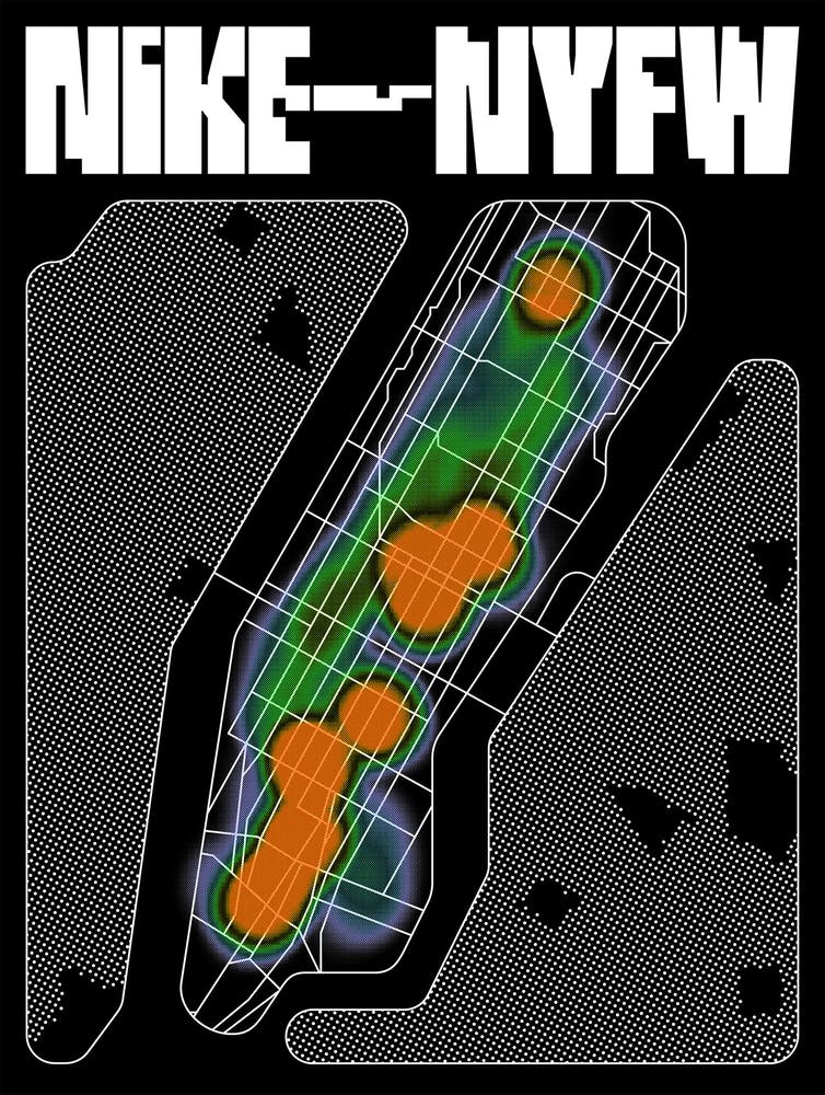 Image of advertisment for NIKE featuring stylized map imagery