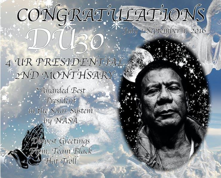 Rodrigo Duterte DU30 death banner