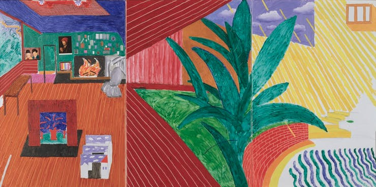 David Hockney's painting Hollywood Hills House, 1981-1982