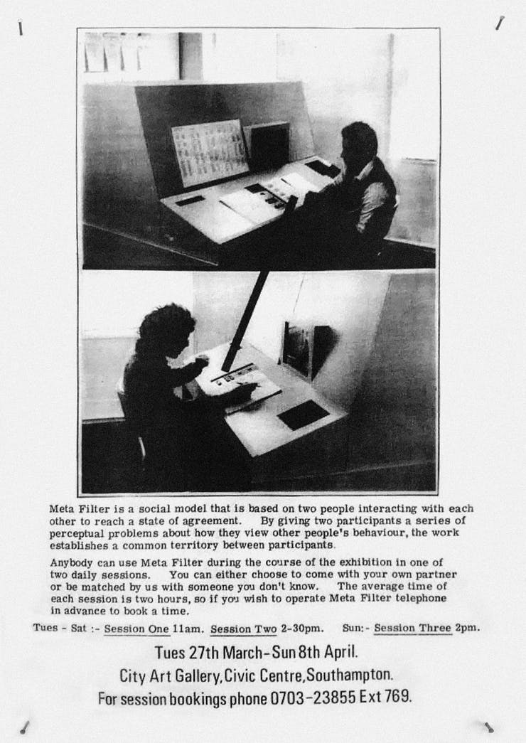 flier with people sitting at an analog computer
