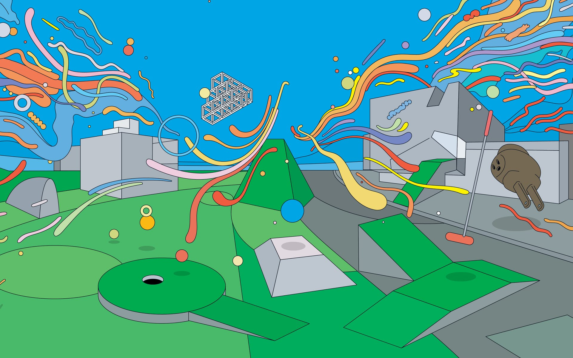 Colorful illustration of Walker building with dozens of floating multicolored balloons and shapes and mini golf course in front