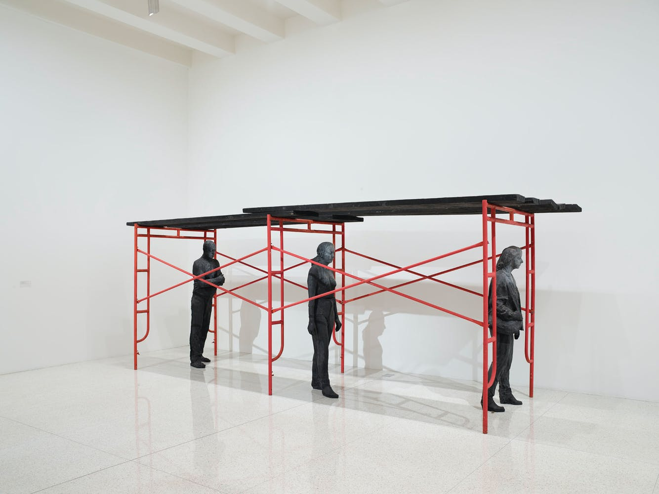 View of the exhibition 75 Gifts for 75 Years, 2015; George Segal, The Red Scaffold, 1990